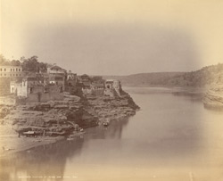 View of the town and River Narmada at Mandhata, Nimar District